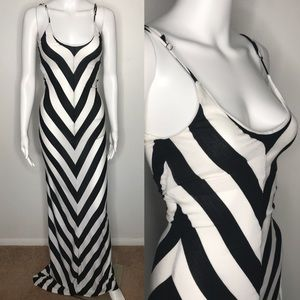 Bebe Black Chevron Maxi Dress XS